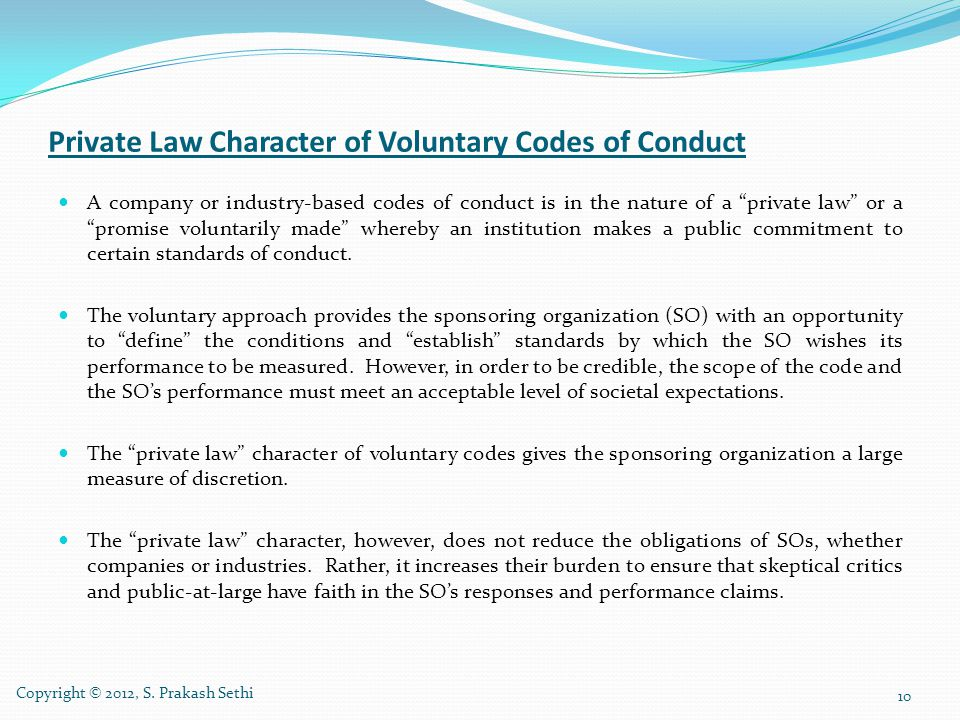 Private Law Character of Voluntary Codes of Conduct