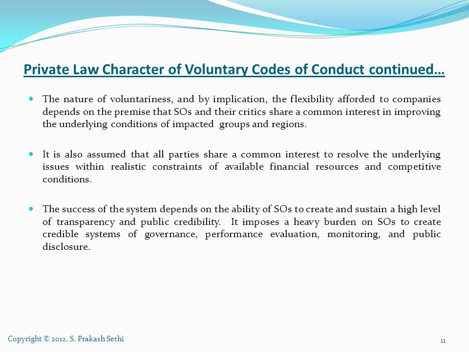 Private Law Character of Voluntary Codes of Conduct continued…