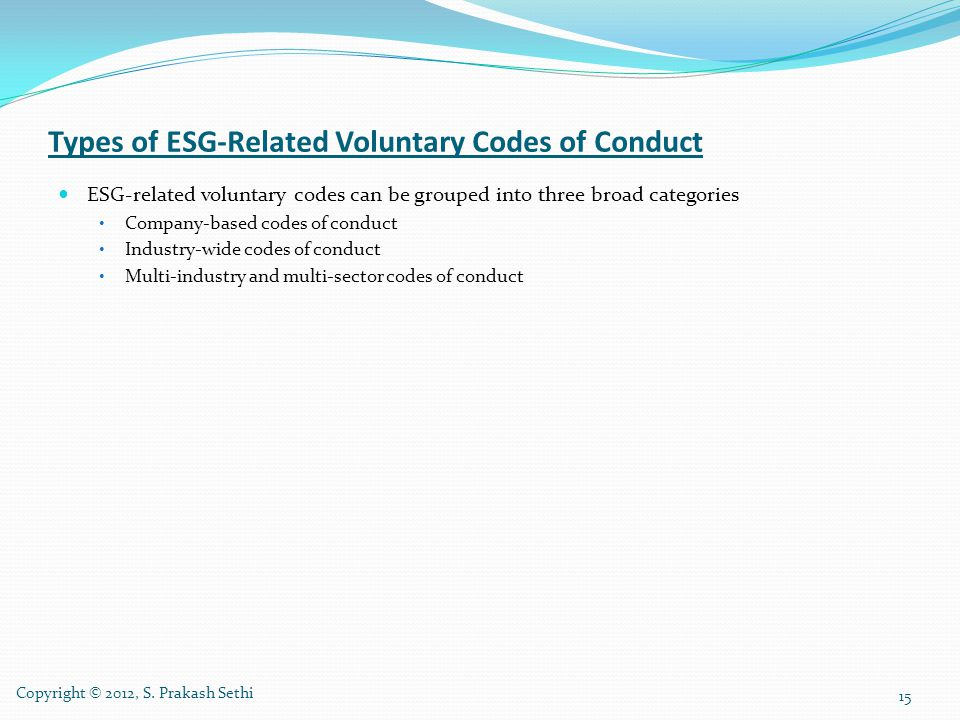 Types of ESG-Related Voluntary Codes of Conduct