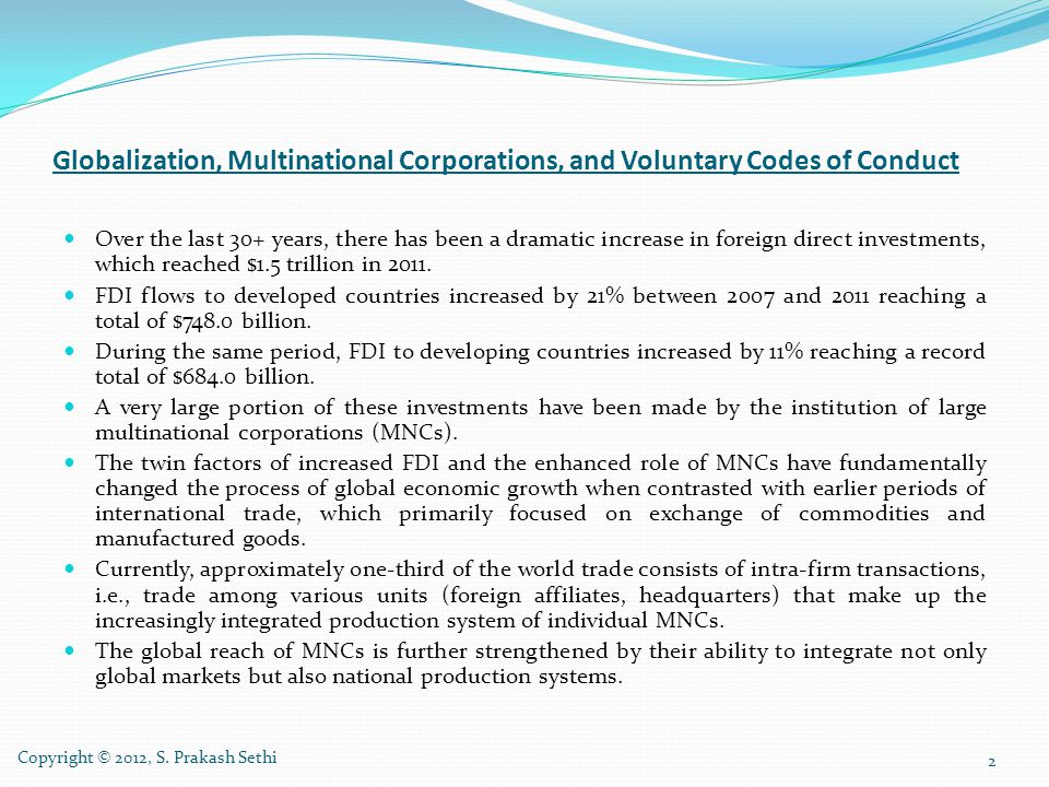 Globalization, Multinational Corporations, and Voluntary Codes of Conduct