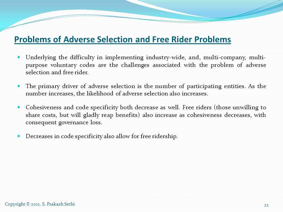 Problems of Adverse Selection and Free Rider Problems