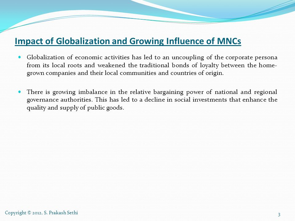Impact of Globalization and Growing Influence of MNCs