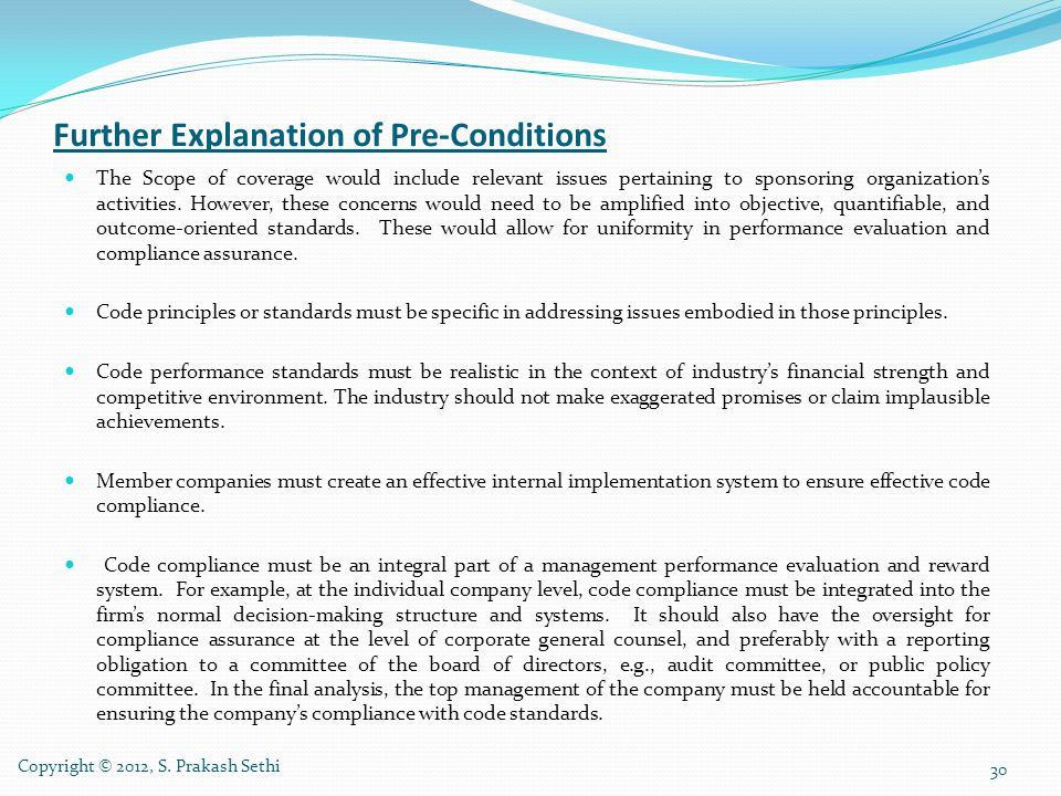 Further Explanation of Pre-Conditions