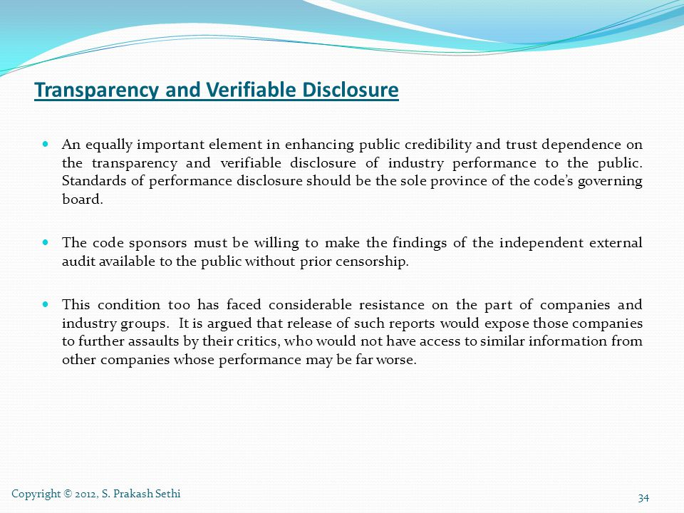 Transparency and Verifiable Disclosure