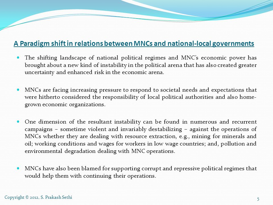 A Paradigm shift in relations between MNCs and national-local governments