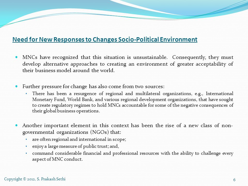 Need for New Responses to Changes Socio-Political Environment