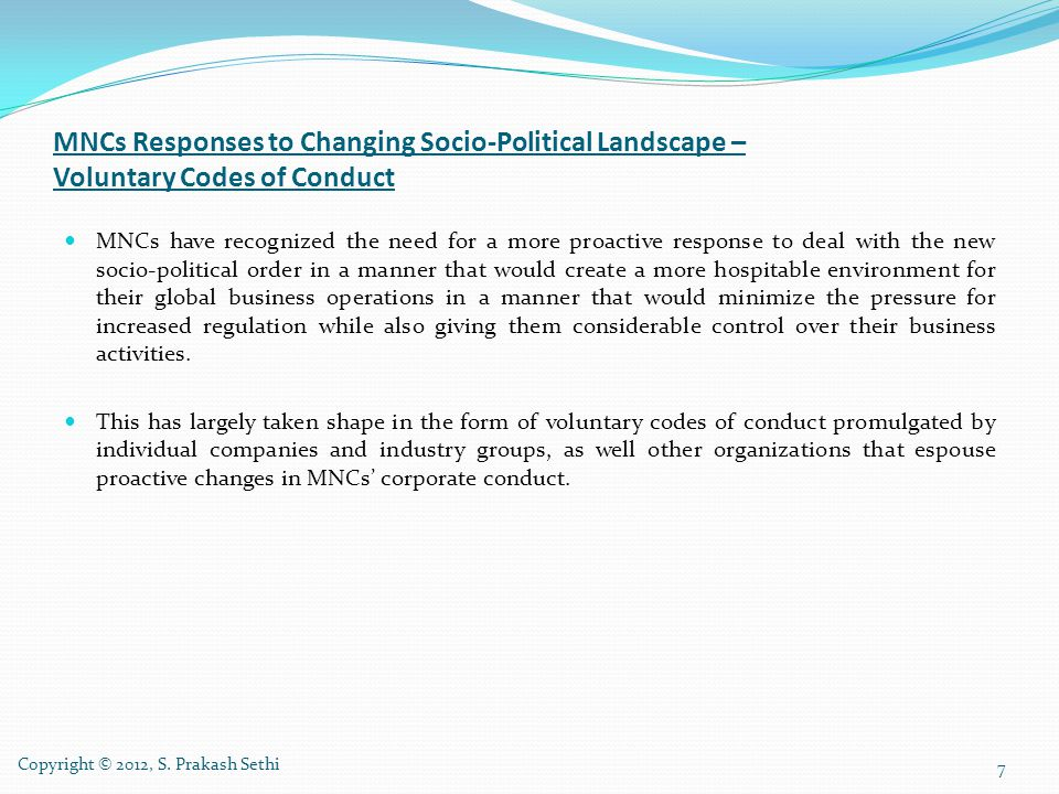 MNCs Responses to Changing Socio-Political Landscape – Voluntary Codes of Conduct
