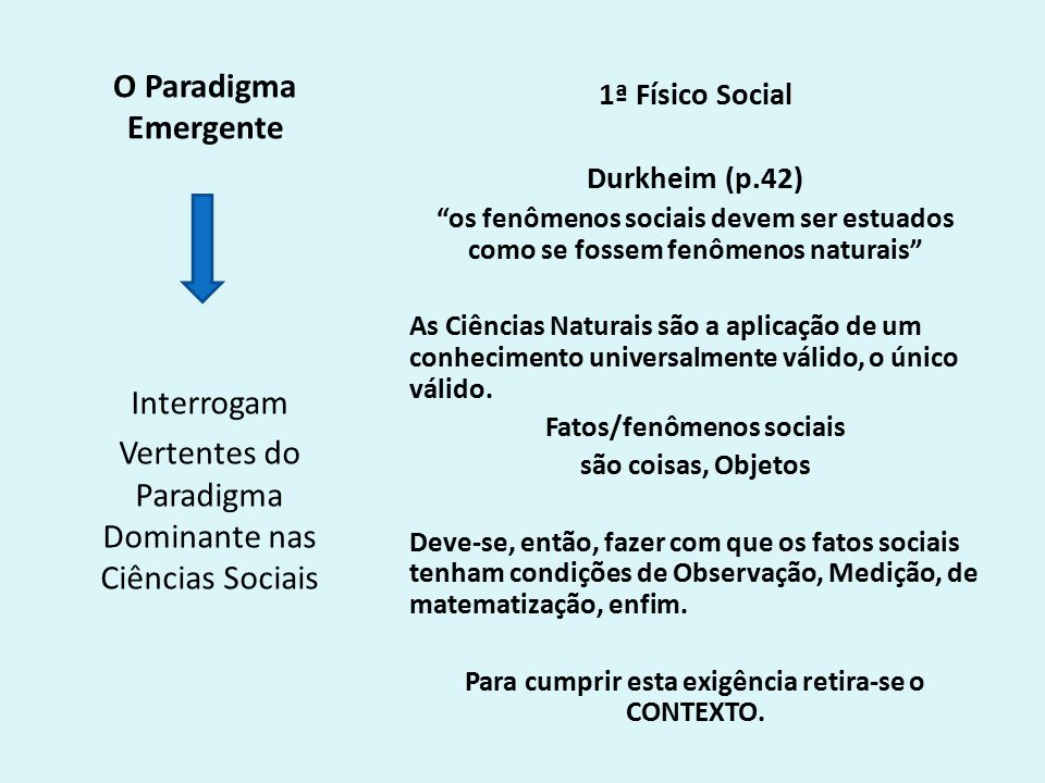 Vertentes do Paradigma Dominante nas Ciências Sociais