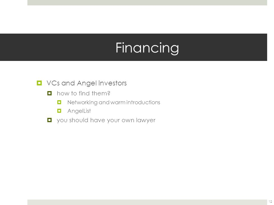 Financing VCs and Angel investors how to find them