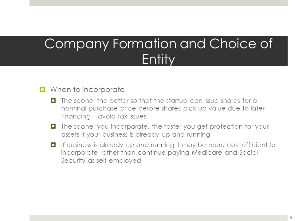 Company Formation and Choice of Entity