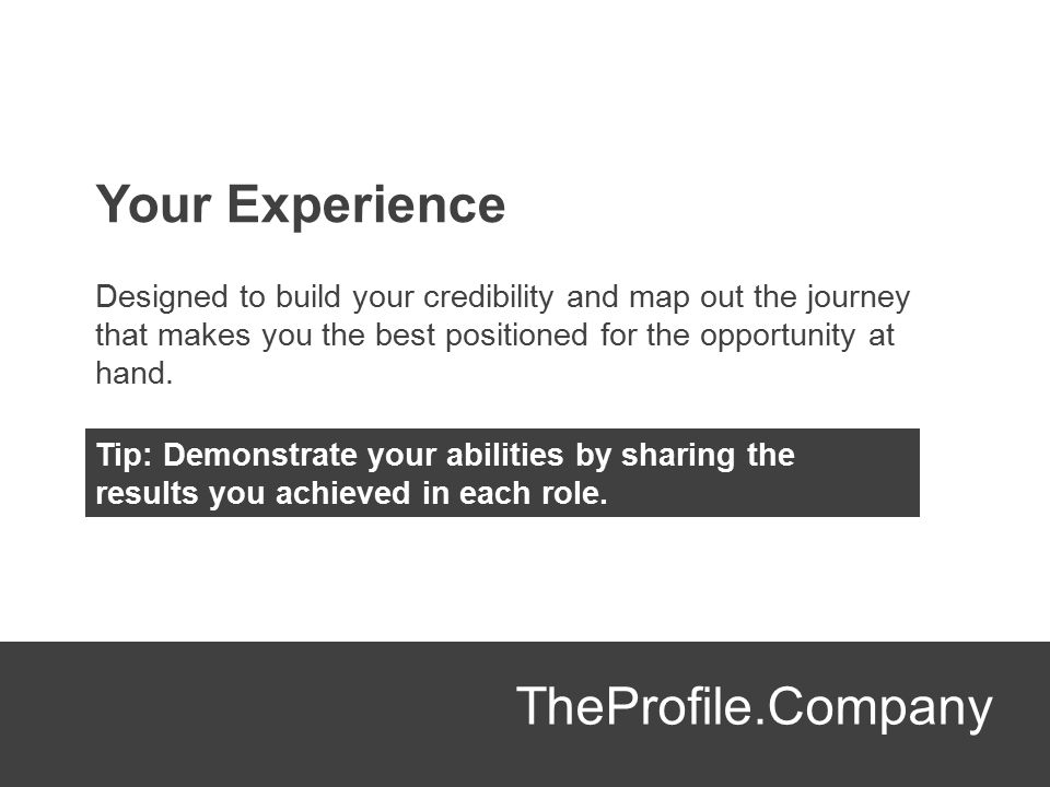 Your Experience TheProfile.Company