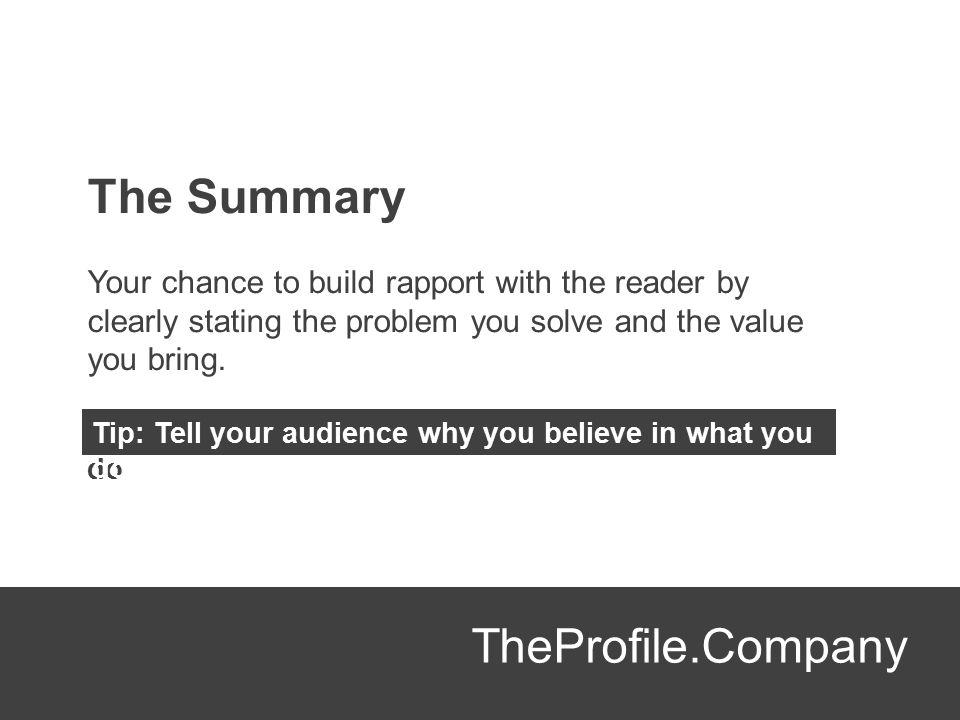 The Summary TheProfile.Company