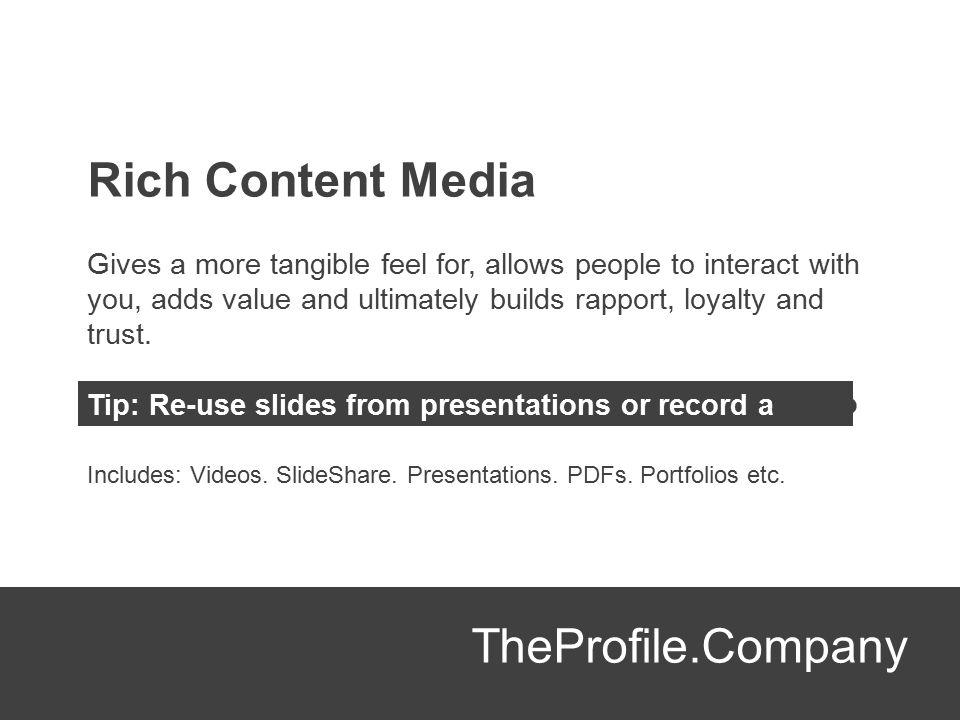 Rich Content Media TheProfile.Company
