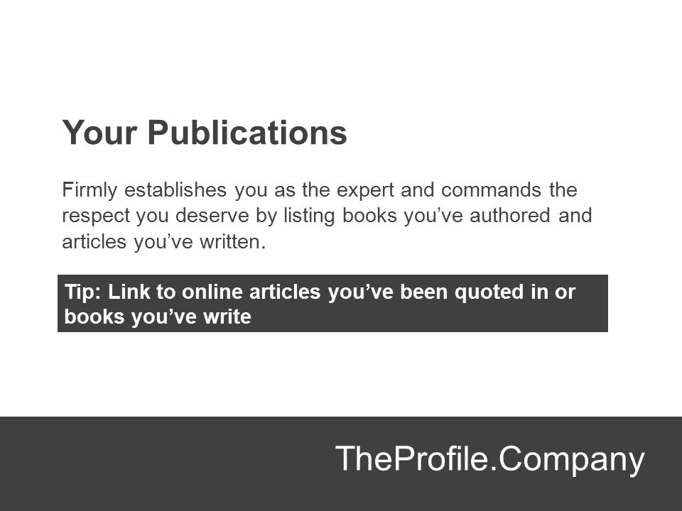 Your Publications TheProfile.Company