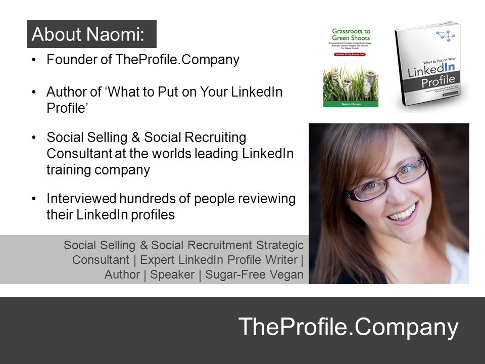 TheProfile.Company About Naomi: Founder of TheProfile.Company