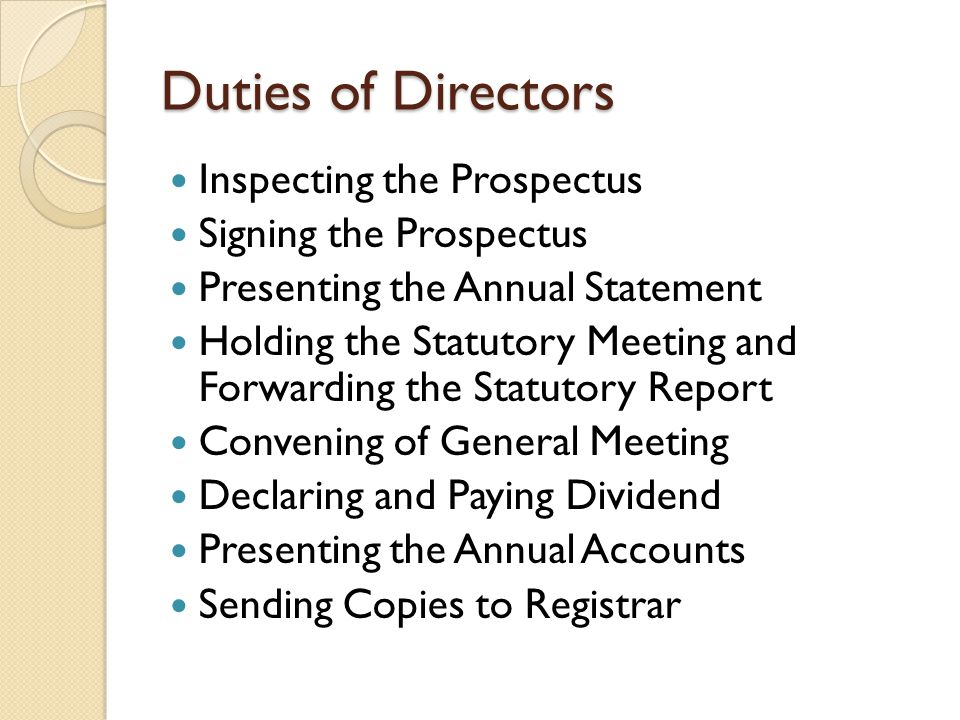 Duties of Directors Inspecting the Prospectus Signing the Prospectus