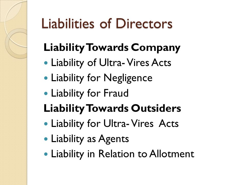 Liabilities of Directors