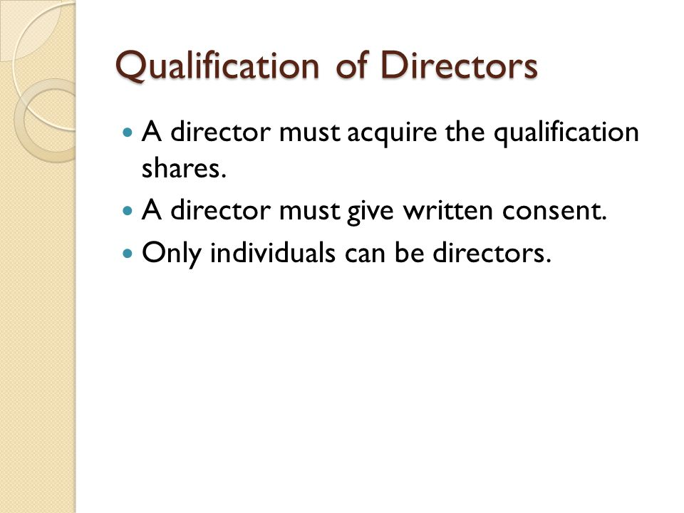 Qualification of Directors
