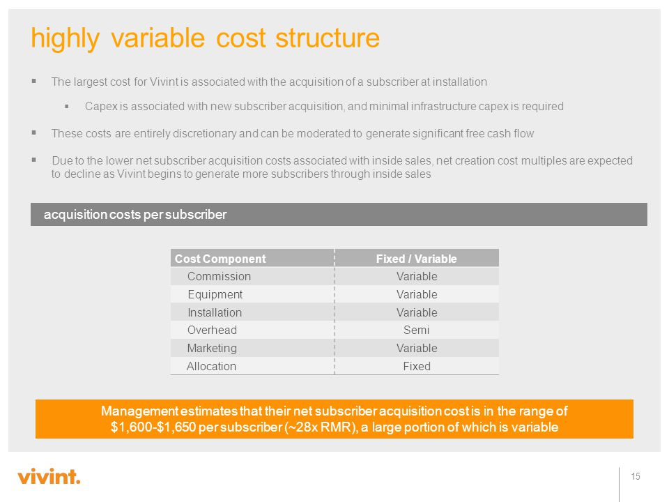 highly variable cost structure