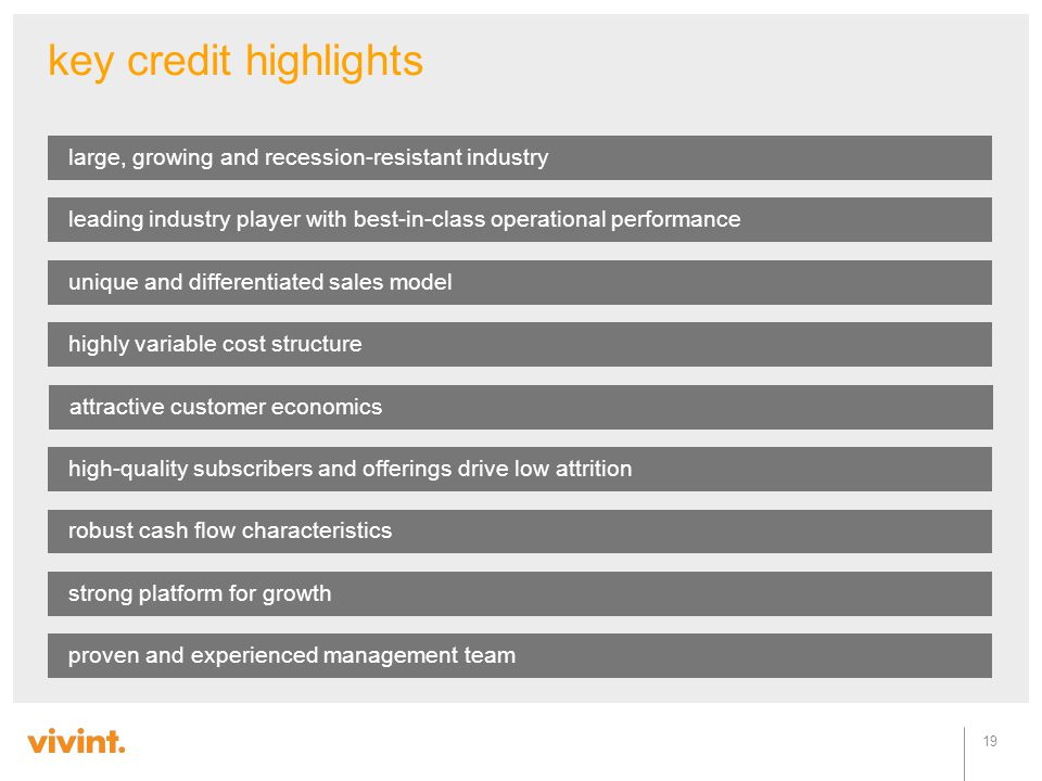 key credit highlights large, growing and recession-resistant industry