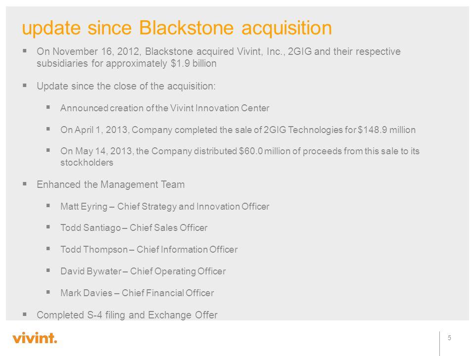 update since Blackstone acquisition