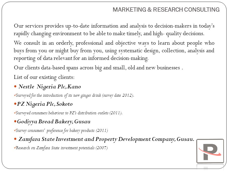 MARKETING & RESEARCH CONSULTING
