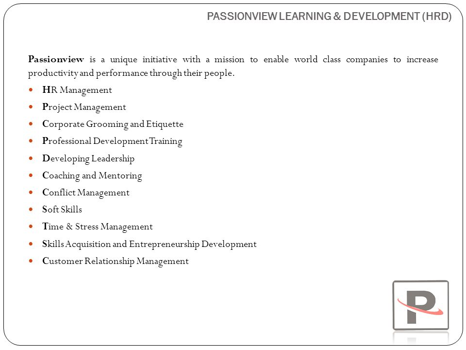 PASSIONVIEW LEARNING & DEVELOPMENT (HRD)