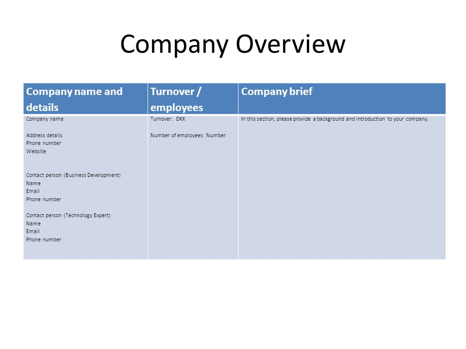 Company Overview Company name and details Turnover / employees