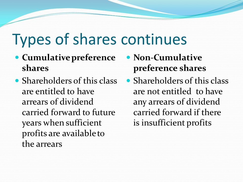 Types of shares continues