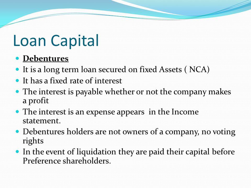 Loan Capital Debentures