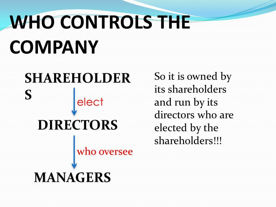 WHO CONTROLS THE COMPANY
