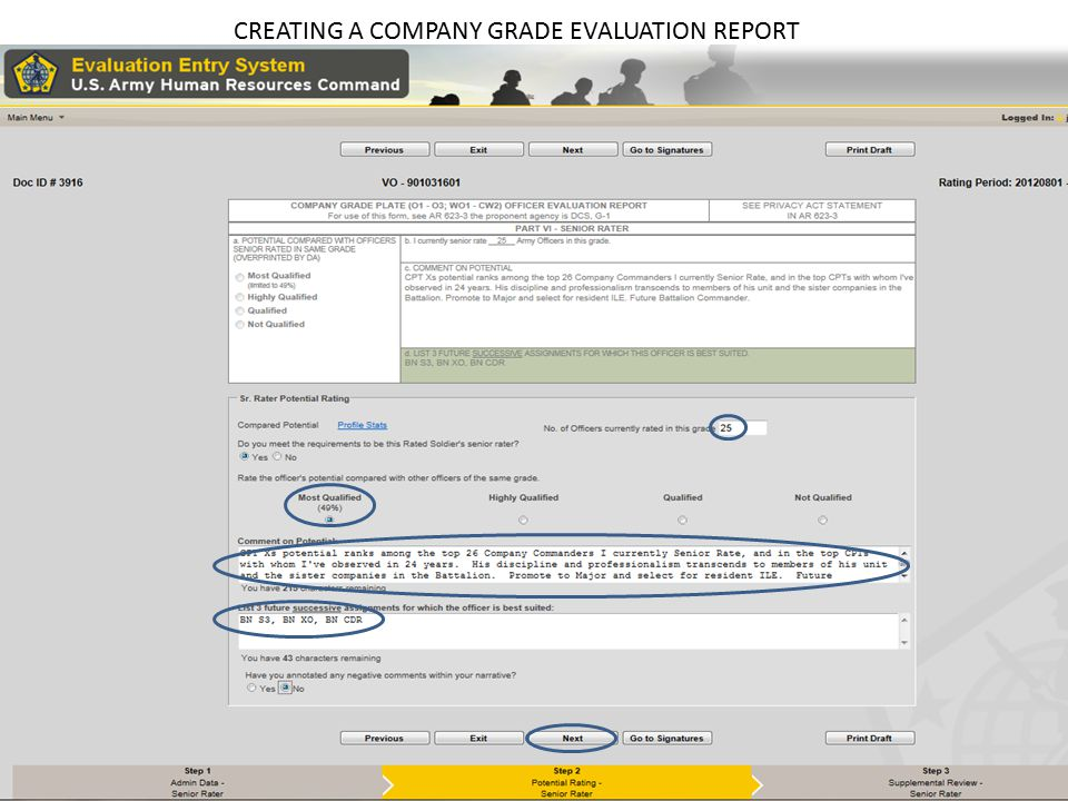 CREATING A COMPANY GRADE EVALUATION REPORT