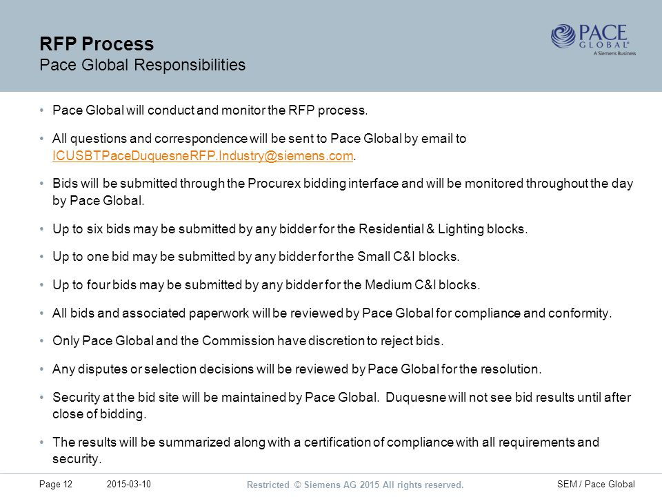 RFP Process Pace Global Responsibilities
