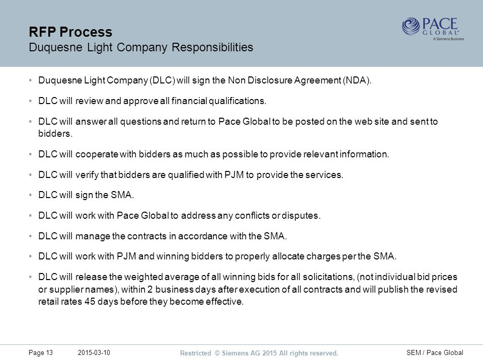 RFP Process Duquesne Light Company Responsibilities
