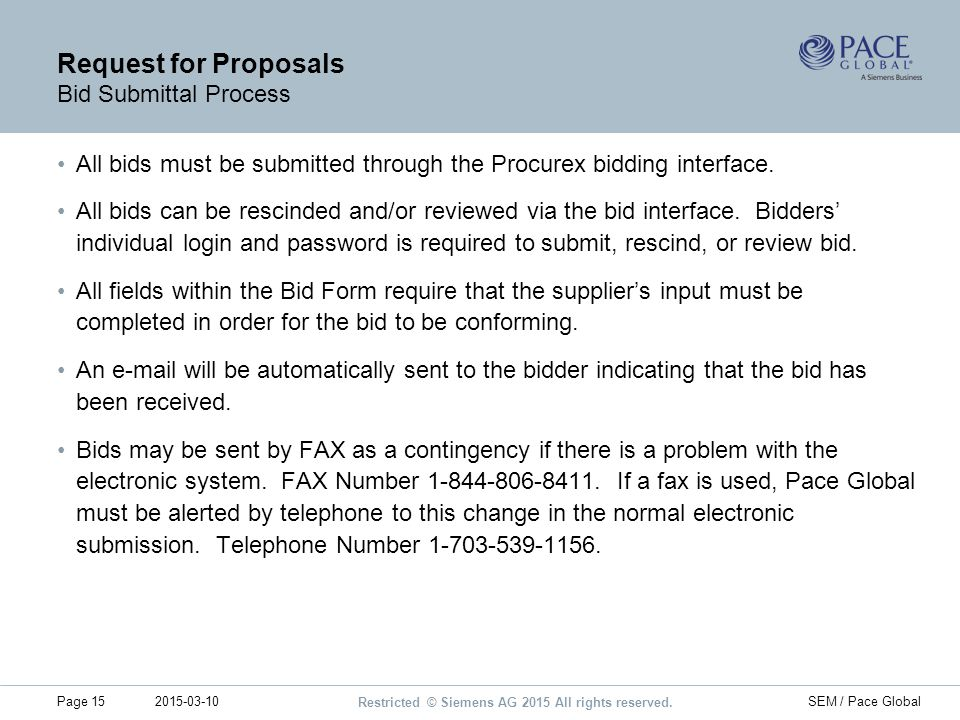 Request for Proposals Bid Submittal Process