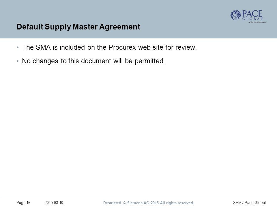 Default Supply Master Agreement