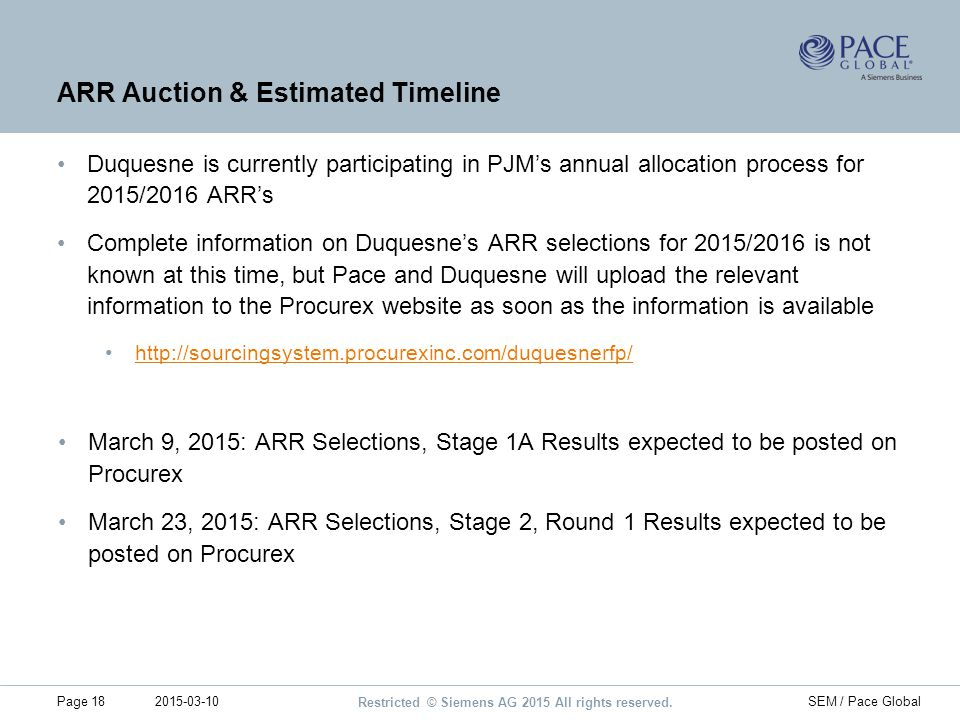 ARR Auction & Estimated Timeline