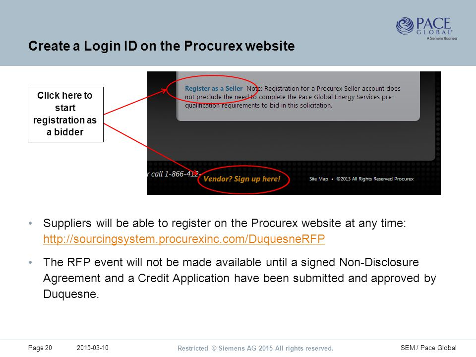 Create a Login ID on the Procurex website