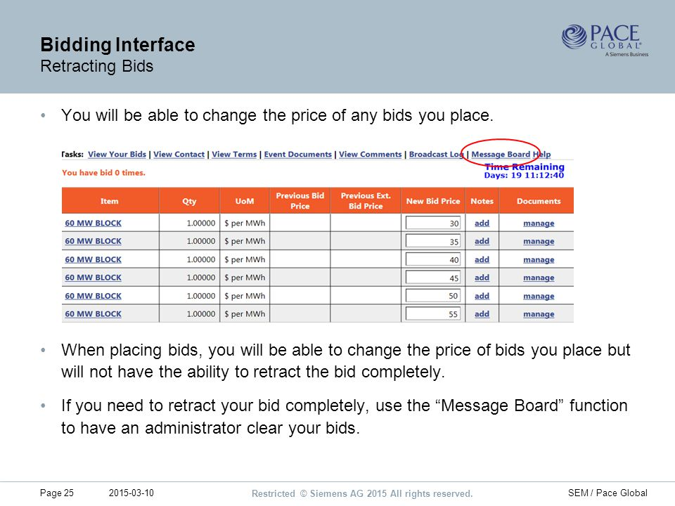 Bidding Interface Retracting Bids
