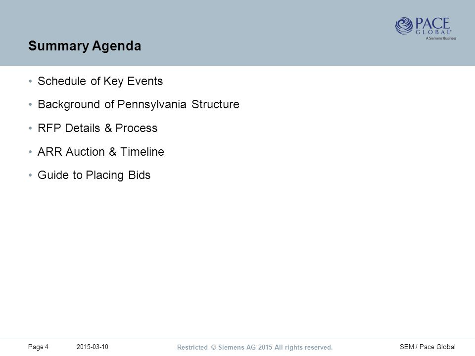 Summary Agenda Schedule of Key Events