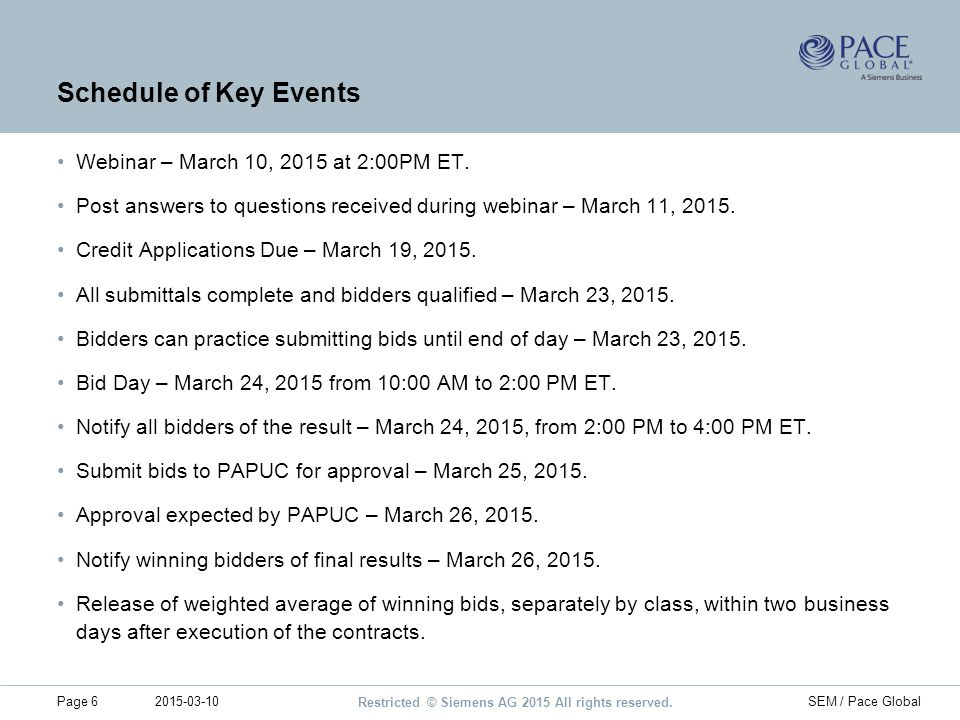 Schedule of Key Events Webinar – March 10, 2015 at 2:00PM ET.