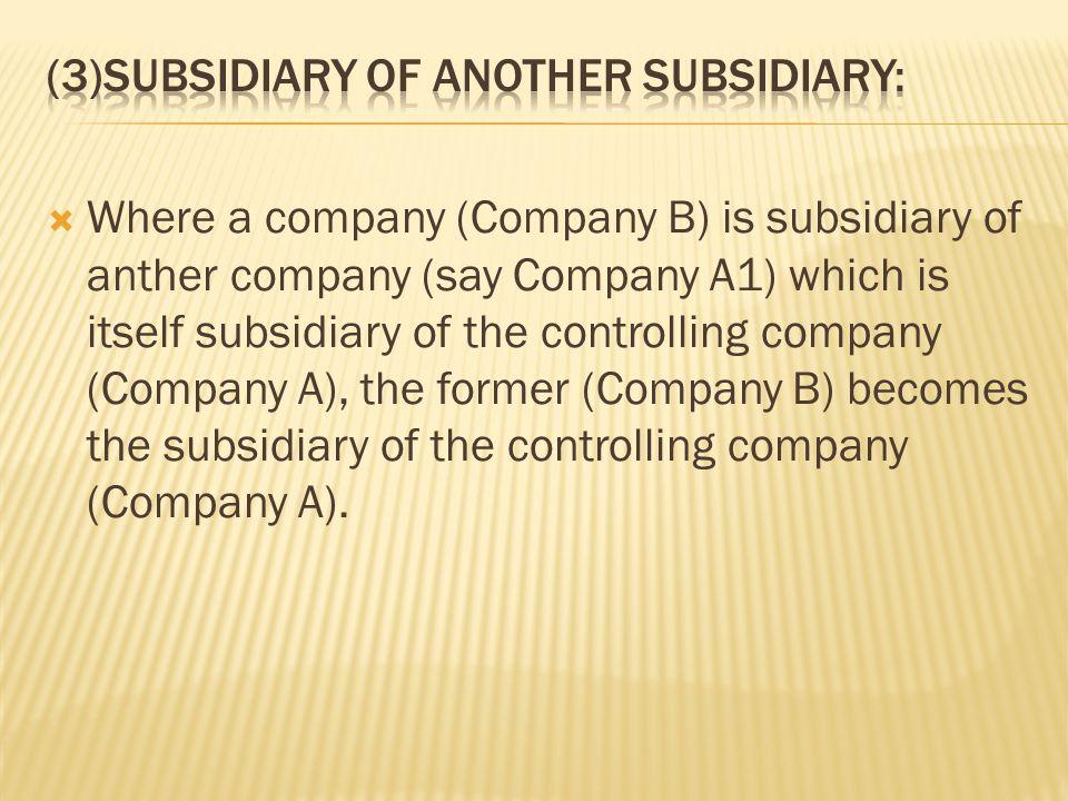 (3)Subsidiary of another subsidiary: