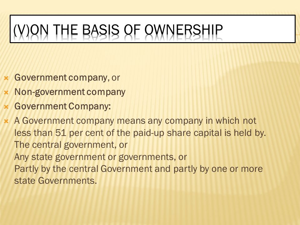 (v)ON THE BASIS OF OWNERSHIP