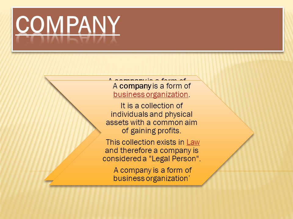COMPANY It is a collection of individuals and physical assets with a common aim of gaining profits.
