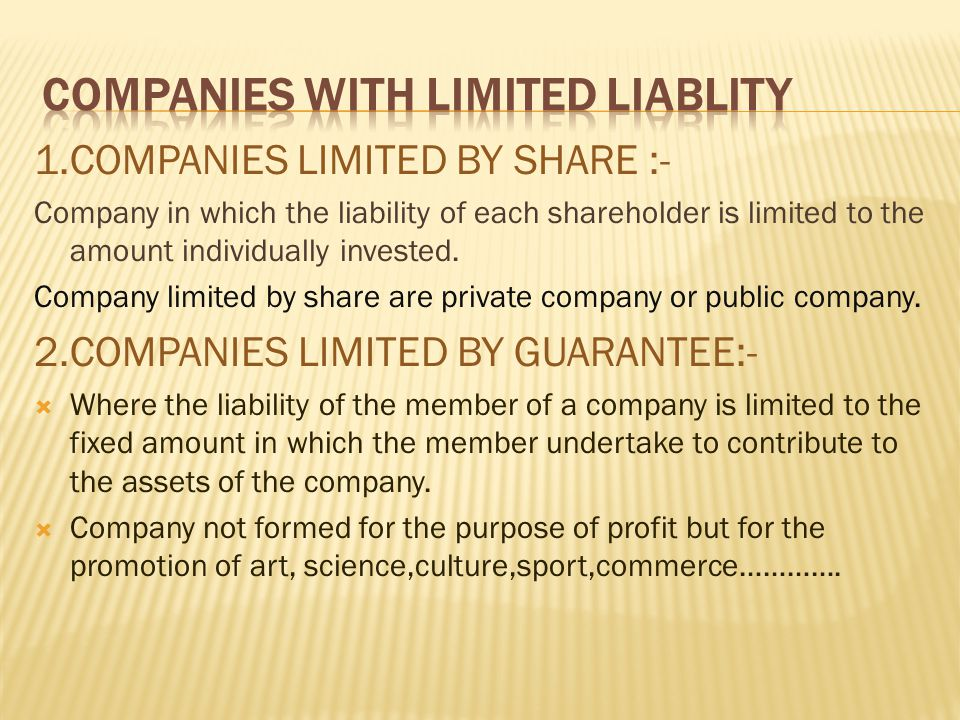 COMPANIES WITH LIMITED LIABLITY
