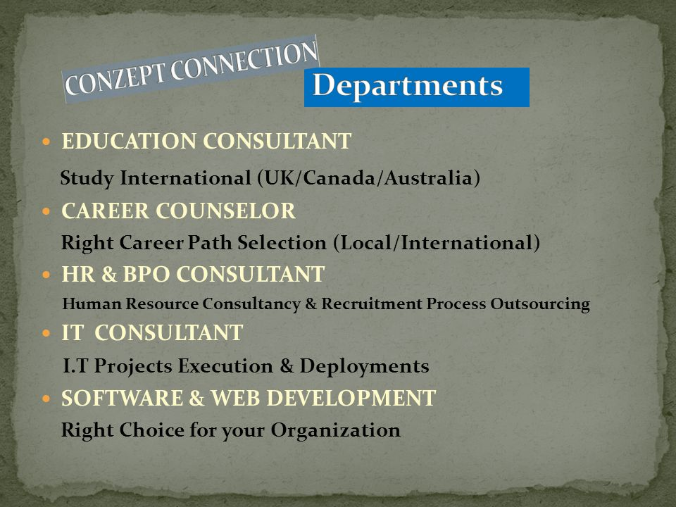 Departments Study International (UK/Canada/Australia)