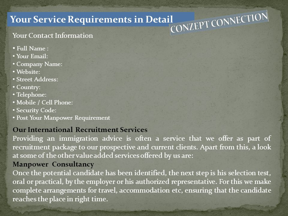 Your Service Requirements in Detail