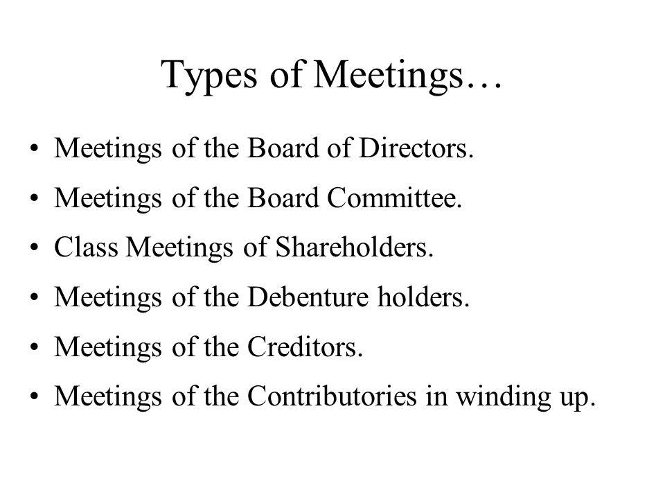 Types of Meetings… Meetings of the Board of Directors.