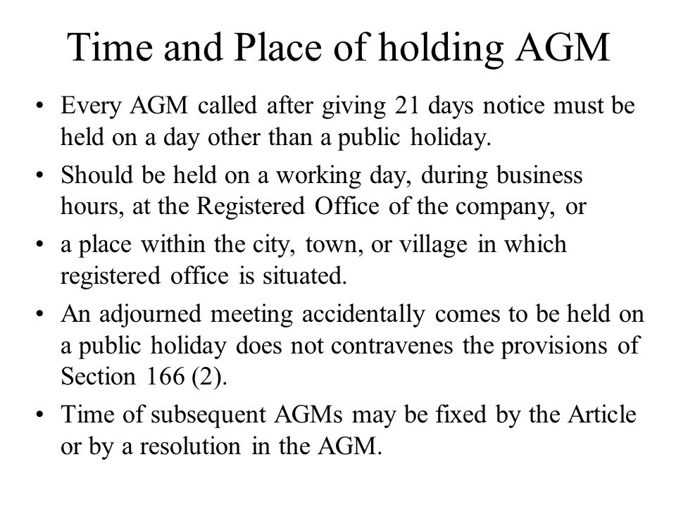 Time and Place of holding AGM