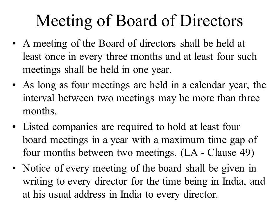 Meeting of Board of Directors